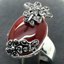 free 28*15mm RARE NATURAL RED ONYX 925 SILVER MARCASITE RING SIZE 7/8/9/10(China)
