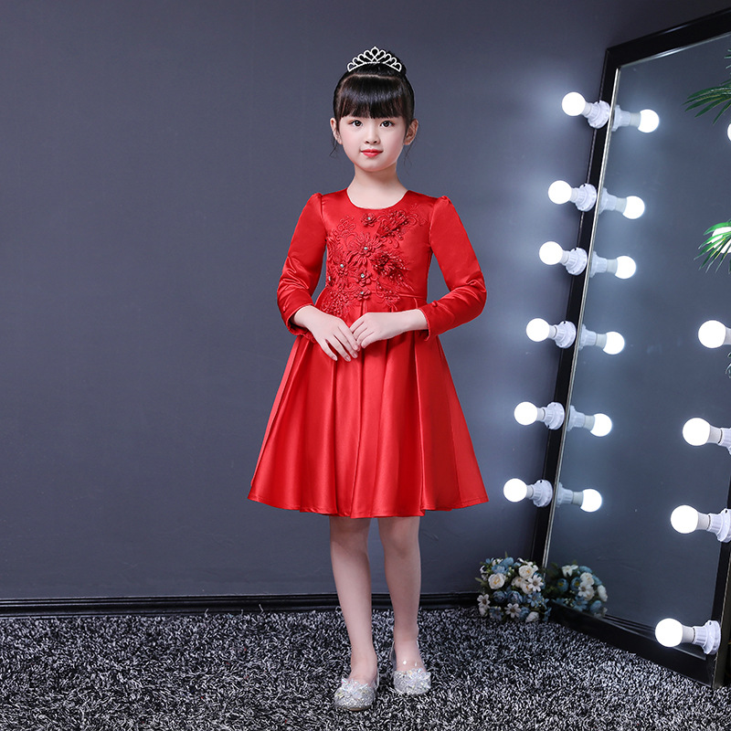 Girls Princess Dress Formal Dress Autumn And Winter New Style Middle And Large Boy's Formal Dress Children Wedding Dress 3-15-Ye