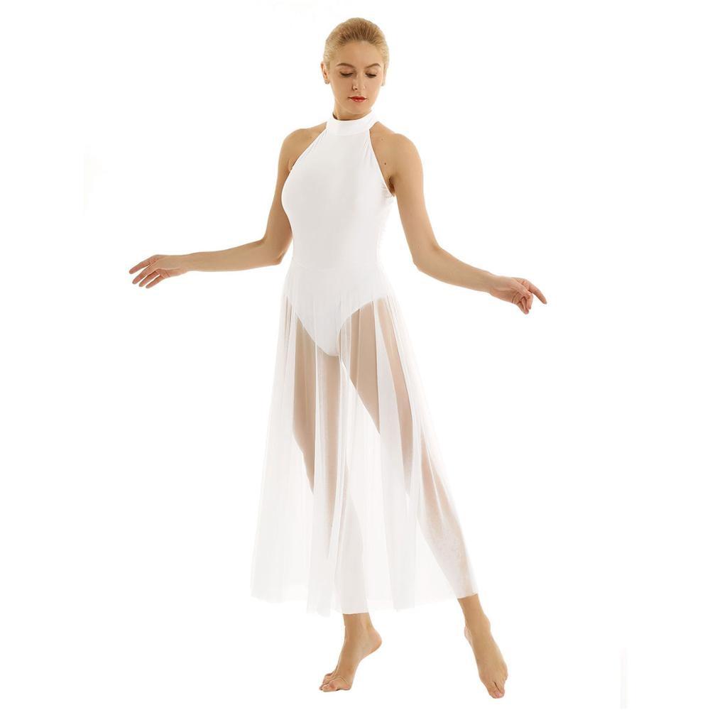 iiniim Womens Adult Sleeveless Sheer Mesh Lyrical Ballet Dance Asymmetric Leotard Bodysuit Dress