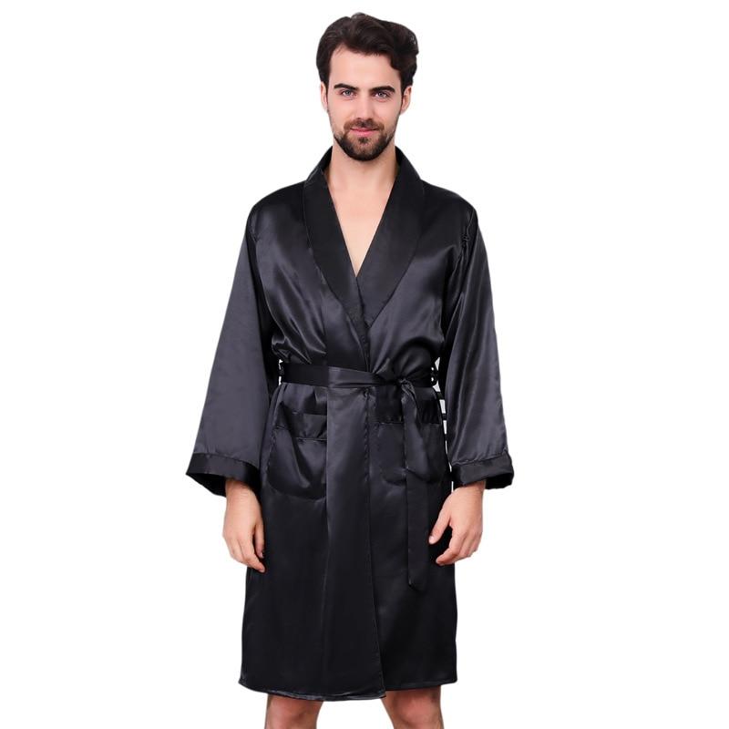 Kimono Male Nightgown Pajamas Bathrobe Sleepwear Luxury Satin Silk Men's Plus-Size Autumn