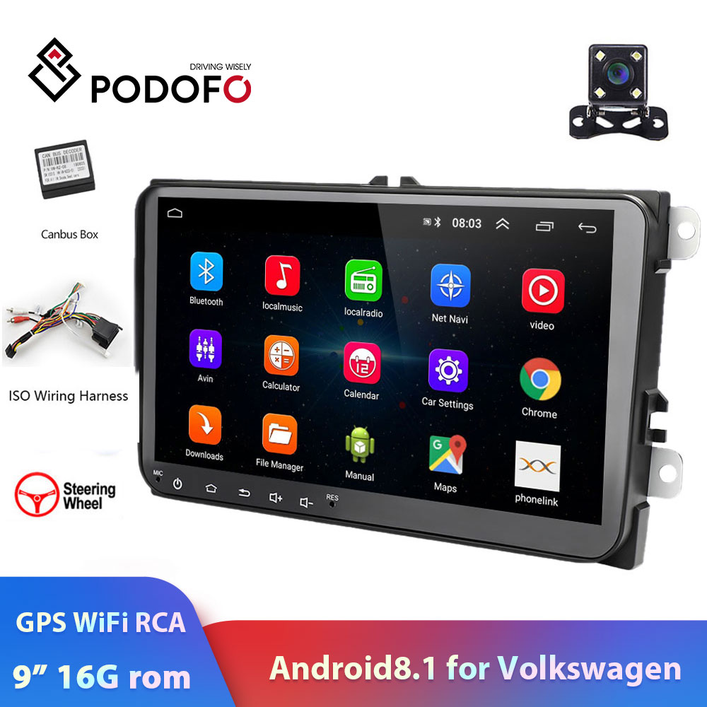 Podofo 2din Car Radio Android 8.1 Multimedia Player GPS Navigation WIFI RCA Stereo For VW Volkswagen Golf Skoda Seat Auto Radio