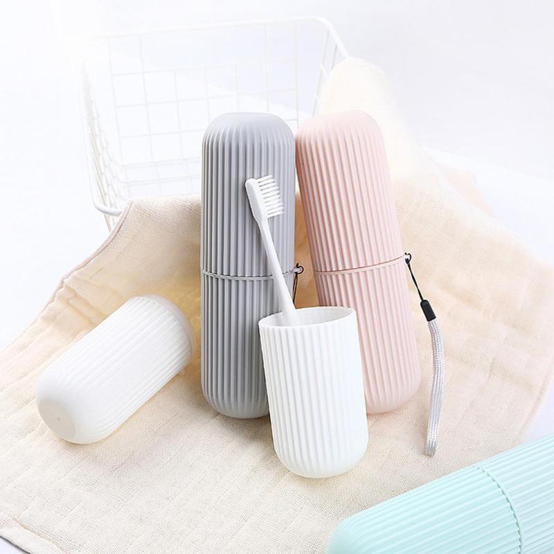 Portable Toothpaste Toothbrush Holder Box Case Plastic Couple Bathroom Accessory Nursing Handle Design Anti-skid Strip