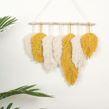 Handmade Macrame Wall Hanging Tapestry Cotton Feathers Woven Leaves  Door Porch H55A