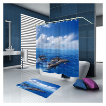Sholisa Factory Direct Selling Bathroom Curtain Fashion Polyester Dolphin Waterproof Support To Hand Or Machine Blue