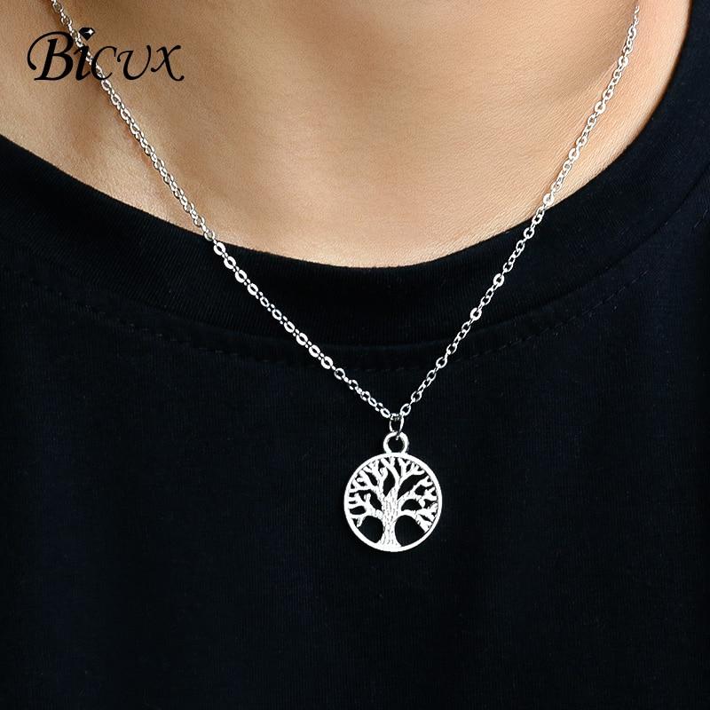 Модное креативное ожерелье-подвеска BICUX в виде дерева жизни для женщин и мужчин, индивидуальное массивное ожерелье серебряного цвета, ювели...