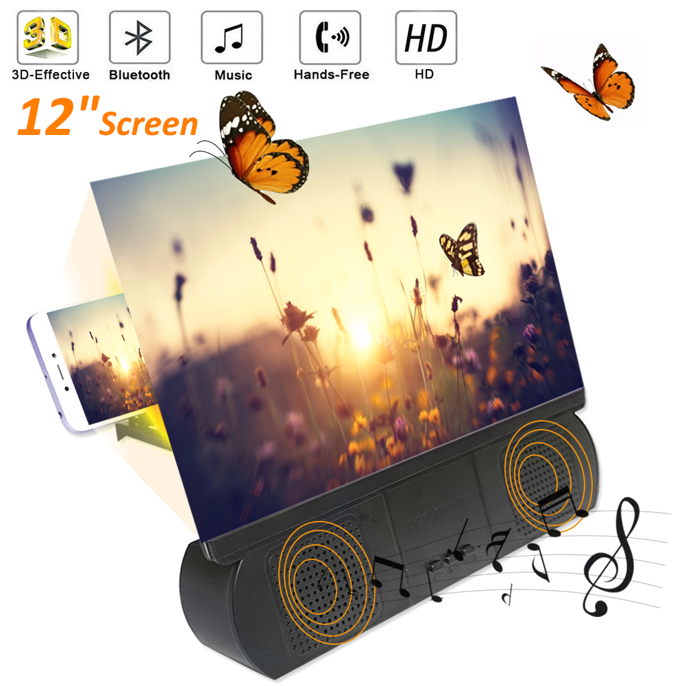 Hot Sale 12'' Mobile Phone Screen Magnifier 3D HD Screen With Bluetooth Speaker Amplifier