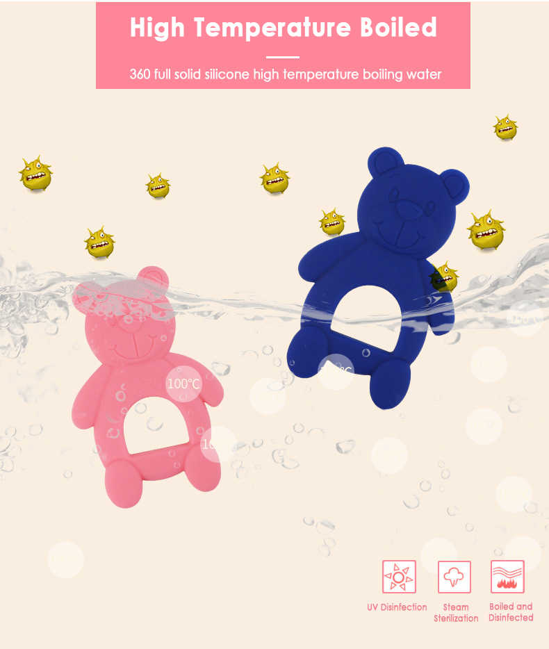 Baby Teether BPA Free Silicone Bear Chew Charms Baby Teething Toys Gift for Newborn Toddler Kids Pacifier Nursing Toy Teethers