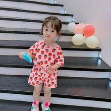 Новинка летний комплект одежды для маленьких девочек рубашка
