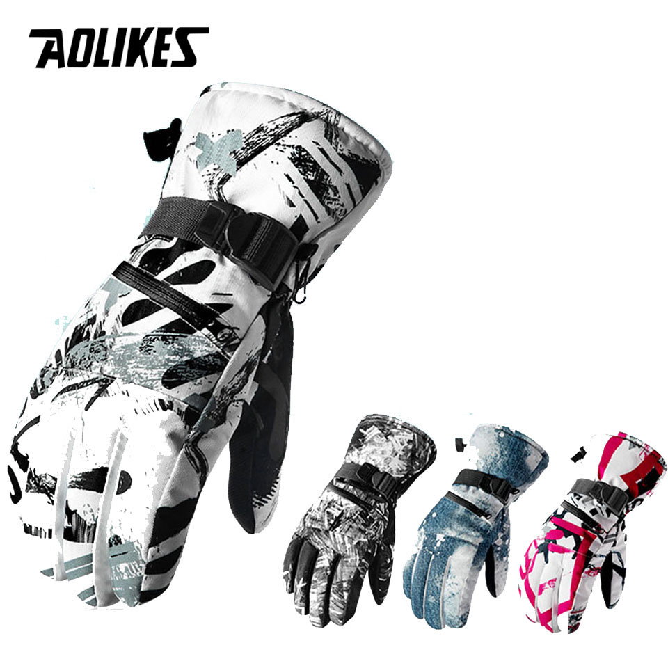 AOLIKES Thermal Ski Gloves Men Women Winter Fleece Waterproof Warm Snowboard Snow Gloves 3 Finger Touch Screen For Skiing Riding