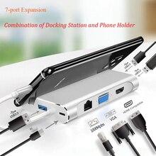 Stacja dokująca Usb C USB 3.0 typ C VGA RJ45 PD stacja dokująca zgodna z HDMI Adapter konwerter do laptopa USB C Hub Dex Station