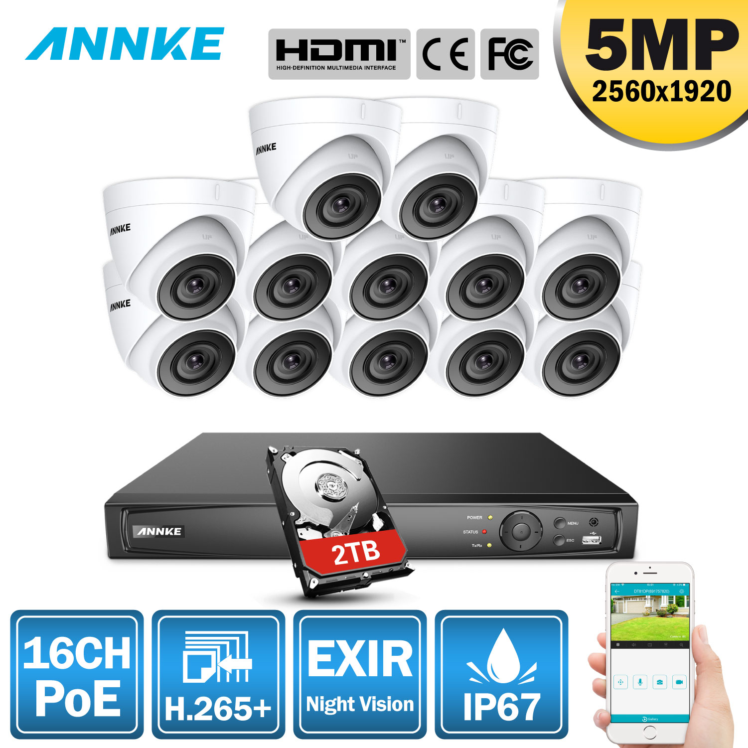 ANNKE 5MP H.265+ 16CH Super HD POE Network Video Security System 12pcs Waterproof Outdoor IP Cameras 2.8mm PoE Camera Kit