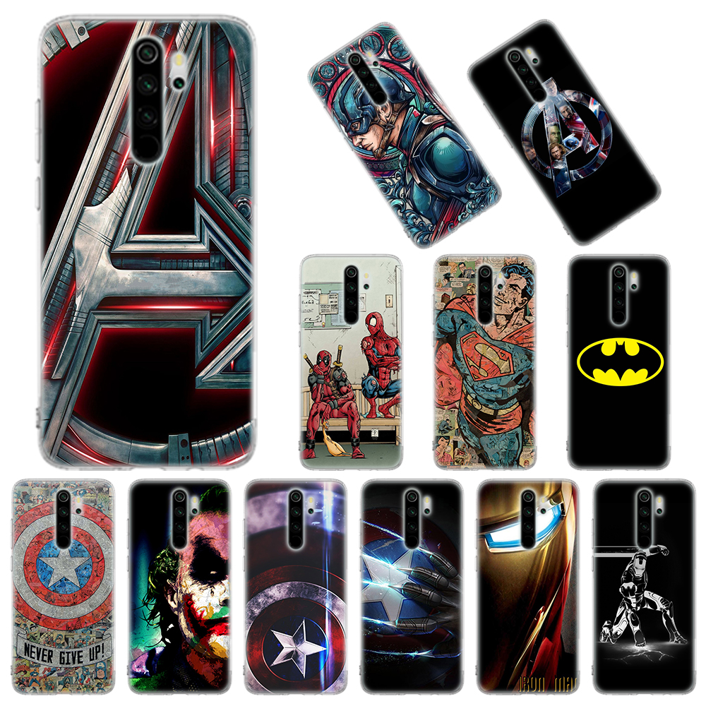 Silicone Case Coque For Xiaomi Redmi Note 8T 9S 6 7 8 Pro 9 Pro Max 6A 7A 8A K20 K30 Pro Cover Ironman Marvel Avengers Superhero