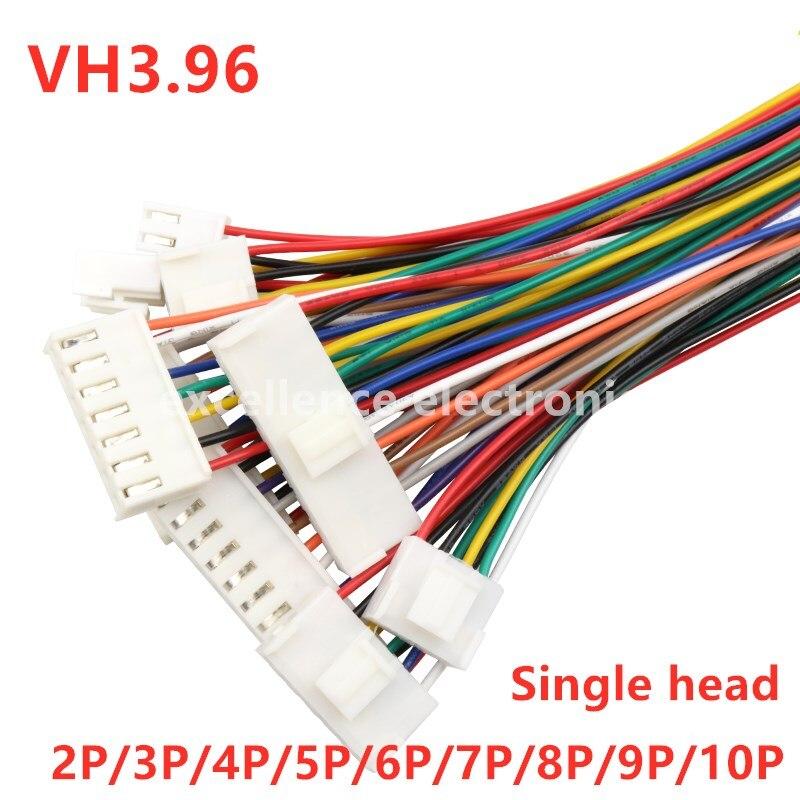5PCS VH3.96 JST VH 3.96 milímetros Feminino Plug Habitação Cabo de Fio Conector 2 3 4 5 6 7 8 9 10Pin 22AWG Fio 20cm de Comprimento