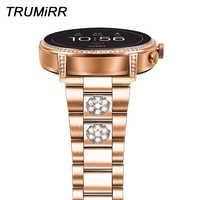 Slim Stainless Steel & Diamond Watchband for Fossil Women' Gen 4 / 3 Venture HR / Sport / Q Venture / Q Tailor Watch Band Strap