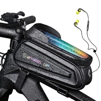 Wodoodporna torba na rower przednia rama Top Tube torby rowerowe 7 0 cala etui na telefon torba z ekranem dotykowym do roweru szosowego MTB tanie i dobre opinie DE (pochodzenie) Z poliestru odporne na deszcz EVA+PU leather TouchScreen Bicycle Bag Phone Case MTB Bike Bag Cycling Bag
