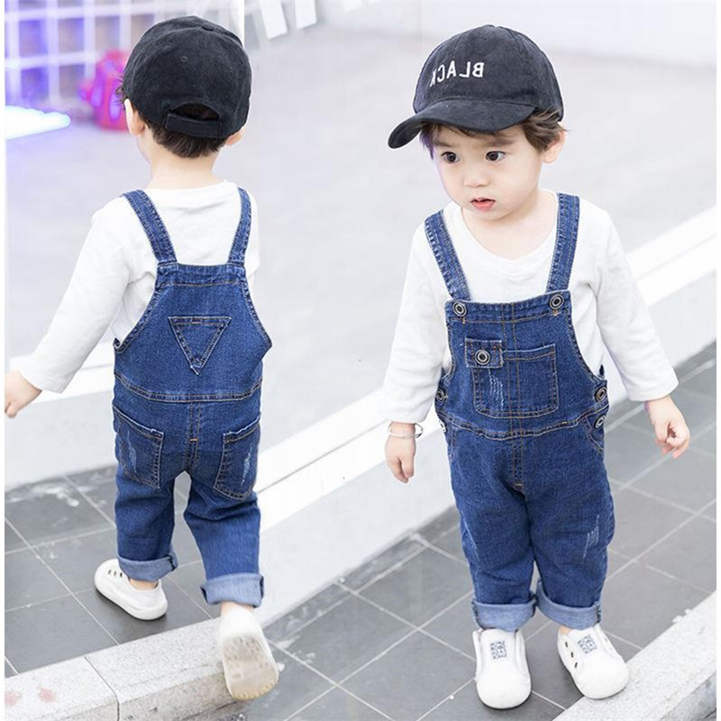 Children Girls Denim Bib Spring Long Overalls for Kids Boys Skinny Pants Autumn Korean Casual Clothes for 1 2 3 4 5 Years