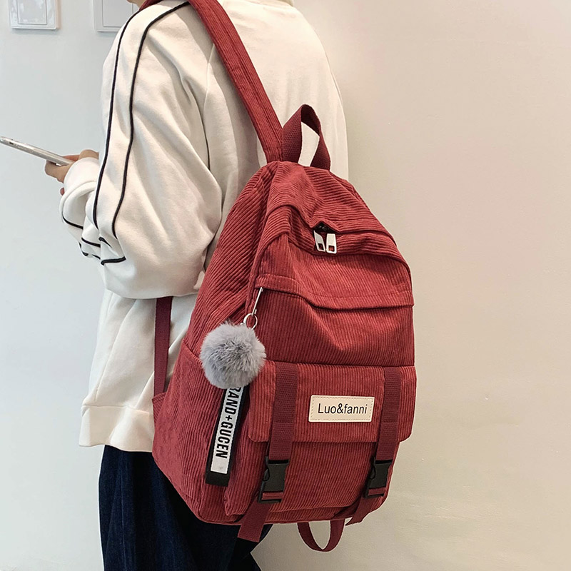 Cute Buckle Corduroy Backpack Women Large Capacity School Bag Teenage Girl Backpack Female Fashion Bag Kawaii Ladies Luxury