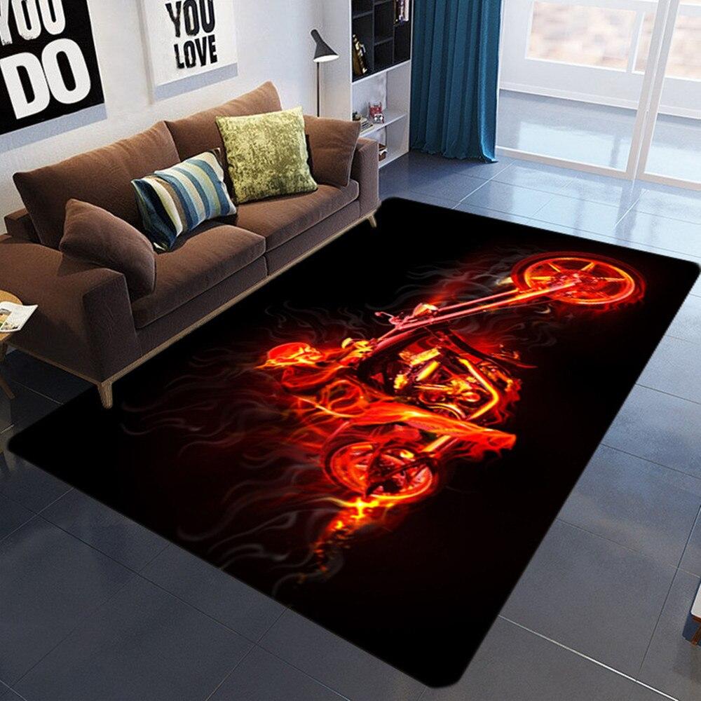 Flame Skull Pattern 3D Printed Carpets For Living Room Bedroom Decor Carpet Modern Home Floor Mat Nordic Colorful Skull Area Rug