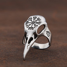 Vintage Odin Crow Skull Helm Of Awe Ring Stainless Steel Valknut Ring For Men Viking Compass Aegishjalmur Rings Jewelry