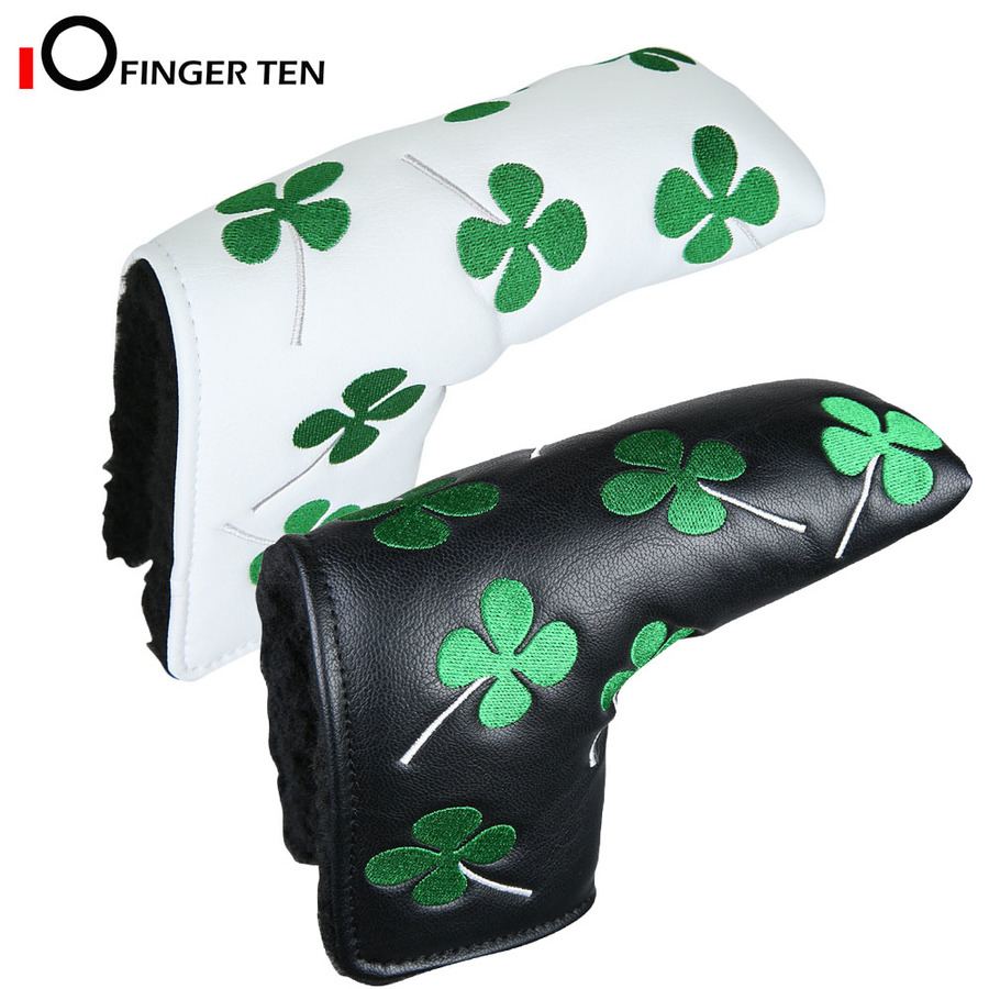 Shamrock Lucky Clover Golf Putter Head Cover Headcover Blade Black White Fit All Brands For Men Women