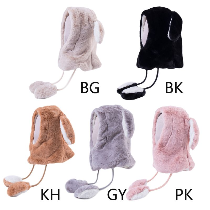Womens Cute Jumping Bunny Ears Earflap Hat Moving Airbag Warm Hood Balaclava Cap NEW