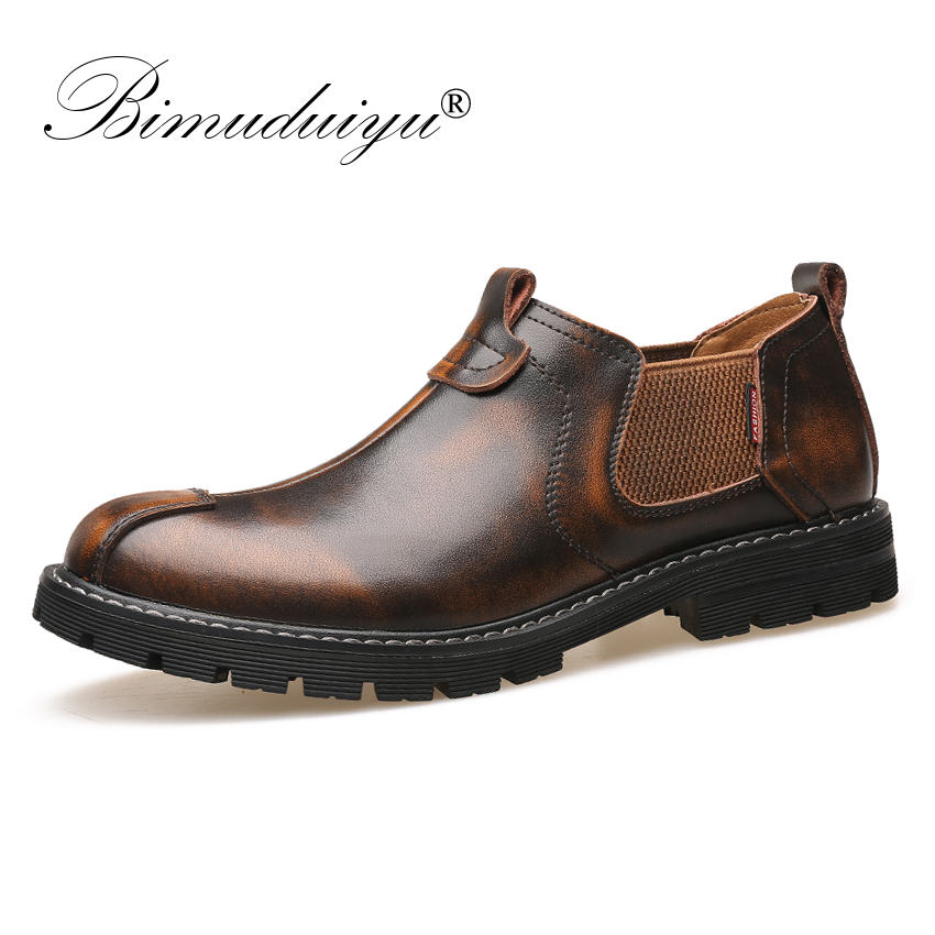 BIMUDUIYU Retro Men Oxfords Formal Male Genuine Leather Slip On Shoes Loafers Casual Work Shoes Fashion British Chelsea Footwear