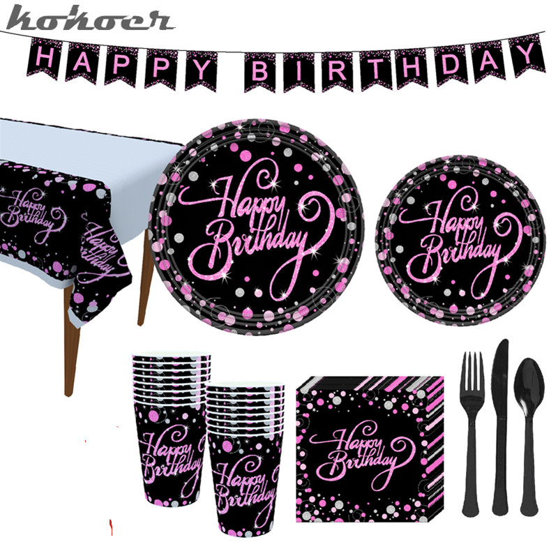 Black /& White Stripes Plates Napkins Cups Tablecover Straws Party Supplies