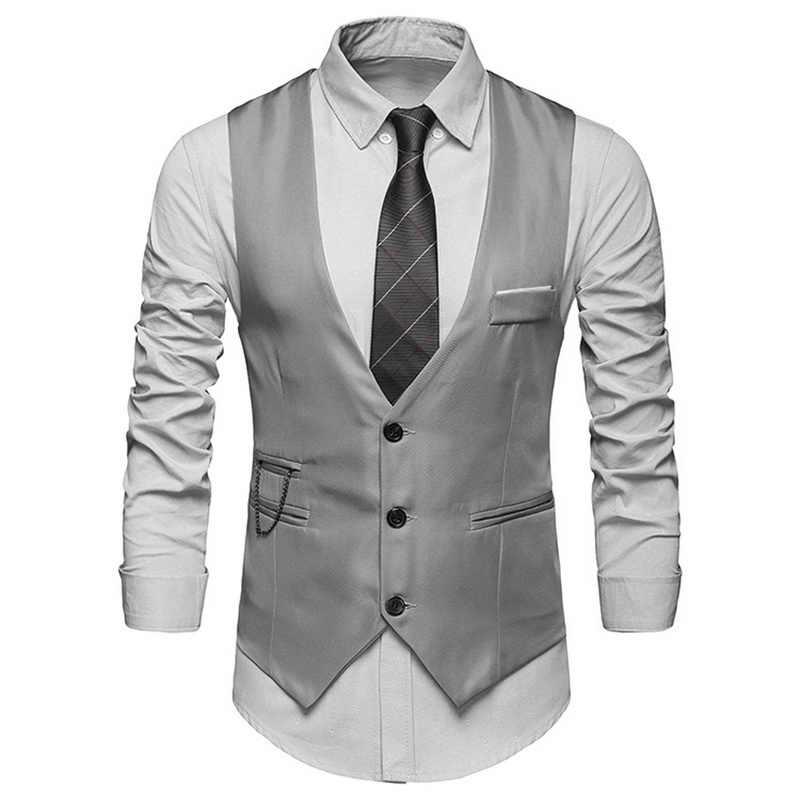 Dihope 2020 Hot Pria Formal Gaun Rompi Slim Fit Men Jas Rompi Pesta Pernikahan Rompi Homme Kasual Bisnis jaket
