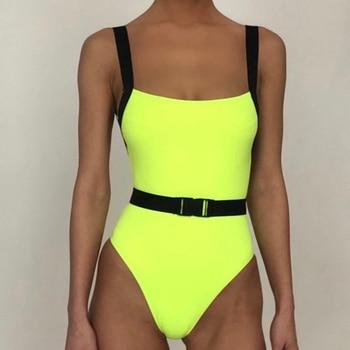 Neon Yellow Belt Buckle One Piece Swimsuit Swimwear Women Sexy Bikini 2020 Summer Monokini High Cut Bathing Suit Women Bathers