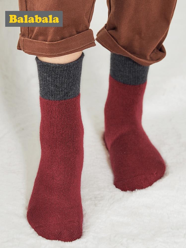 Balabala Children Socks Winter New Boy Cotton Socks Warm Big Boy Stockings Three Pairs Of Cotton Stretch