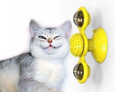 Interactive Cat Toy Windmill Portable Scratch Hair Brush Grooming Shedding Massage Suction Cup Catnip Cats Puzzle Training Toy 2