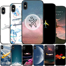 Simple lovely cartoon air plane Soft Silicone phone Case for iPhone 8 11 Pro X XS Max XR 5 5S 6 6S Plus 7 Cover Coque(China)