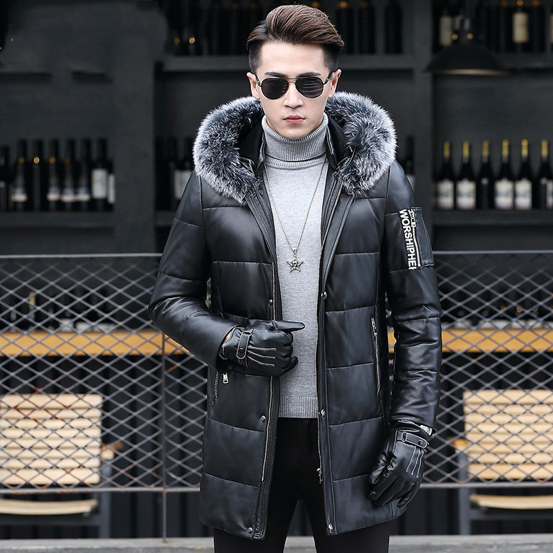 Leather Jacket Men 2020 Sheepskin Genuine Leather Jacket Men Warm Winter Duck Down Coat Jaqueta De Couro J16-HF1612-1 YY749