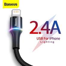 Baseus kabel USB do iPhone 12 11 Pro XS Max Xr X 8 7 6 oświetlenie LED szybka ładowarka data kabel telefoniczny do ipada przewód drutowy tanie tanio LIGHTNING 2 4A CN (pochodzenie) USB A Ze wskaźnikiem LED Aluminum shee + High-density nylon braid Data Transmission Fast Charging Charger For iPhone Lighting Cable