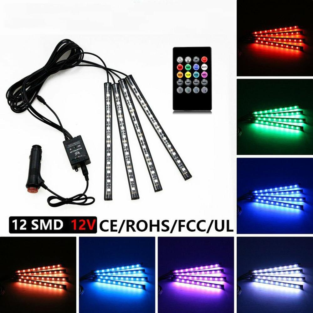 Car Atmosphere Light Car Foot Light Rgb Colorful Atmosphere Lights Wireless Remote Control Led Colorful Music Rhythm Lights