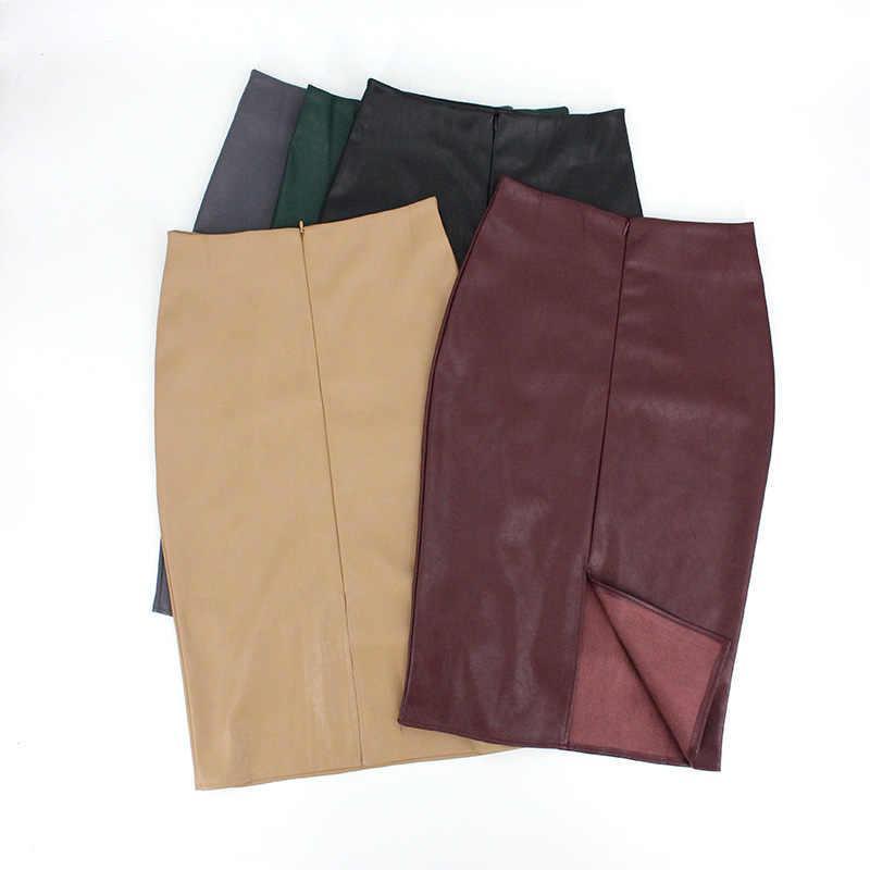Femmes jupes PU cuir taille haute genou longueur Style coréen Sexy noir hiver automne Saia Jupe crayon Jupe Femme