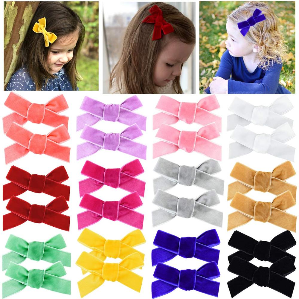 24PCS Baby Girls Hair Bows Clips 3.15inch Velvet Hair Bow Alligator Hair Clips Fully Lined Hair Accessories For Toddlers Kids