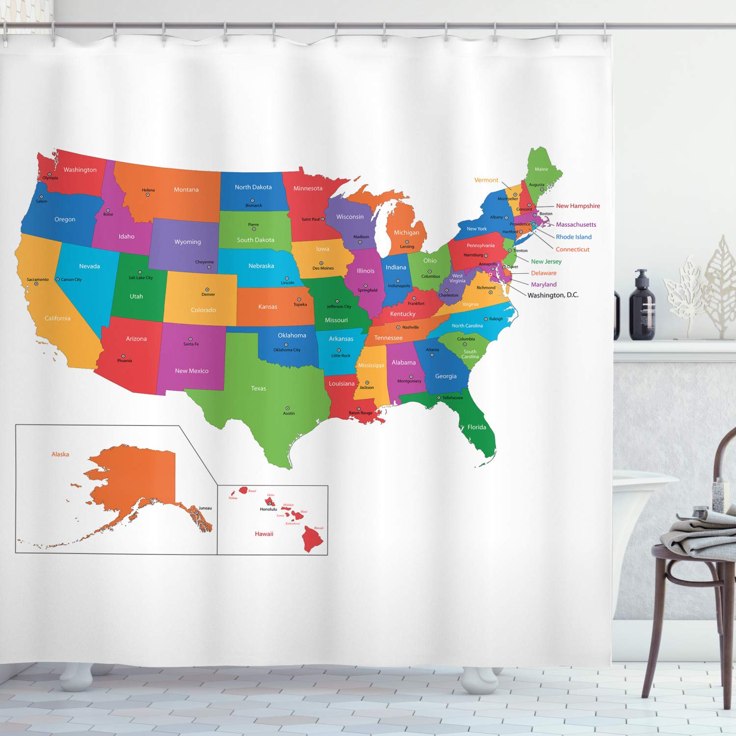Us 6 49 35 Off Travel Shower Curtain Colorful Usa Map With States And Capital Cities Washington Florida Indiana Print Cloth Fabric Bathroom In