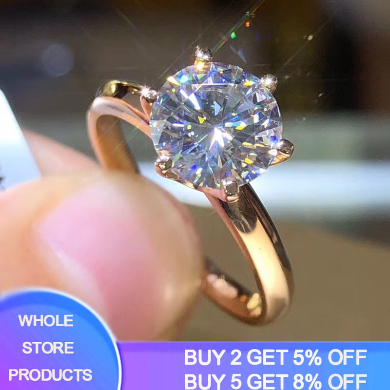 YANHUI Classic Wedding Finger Rings Fine Jewelry Rose Gold Rings Inlay 8mm 2ct Zirconia Diamond Rings Women Girlfriend Gift