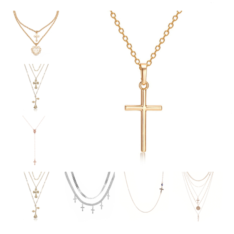 ZILPOIT Vintage Gold Silver Cross Rose Flower Pendant Necklaces for Women Girl Floral Layered Heart Necklace Bohemia Jewelry