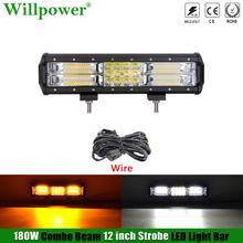 """Off Road Auto 180W 12 """"Dual Farbe Strobe Licht Bar Gelb Weiß Flash LED Lichtbalken SUV ATV 4x4 Lkw Bernstein Licht Fahren Nebel Lampe"""