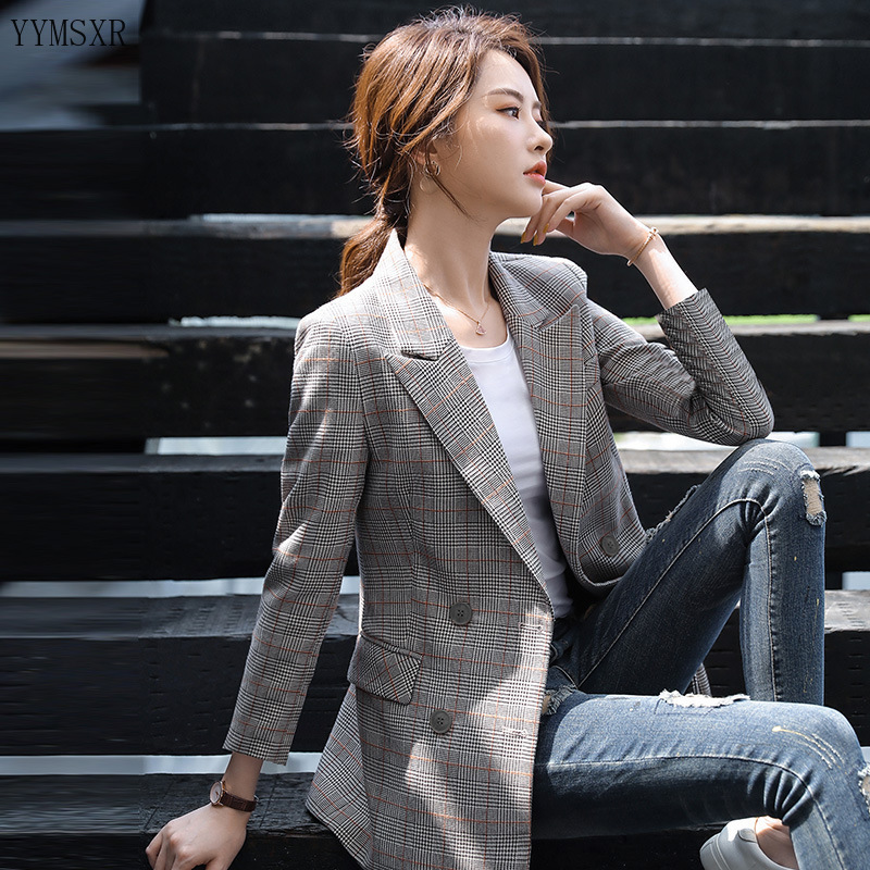 2020 new ladies jacket feminine blazer Autumn and winter fashion elegant check women's small suit Casual coat high quality