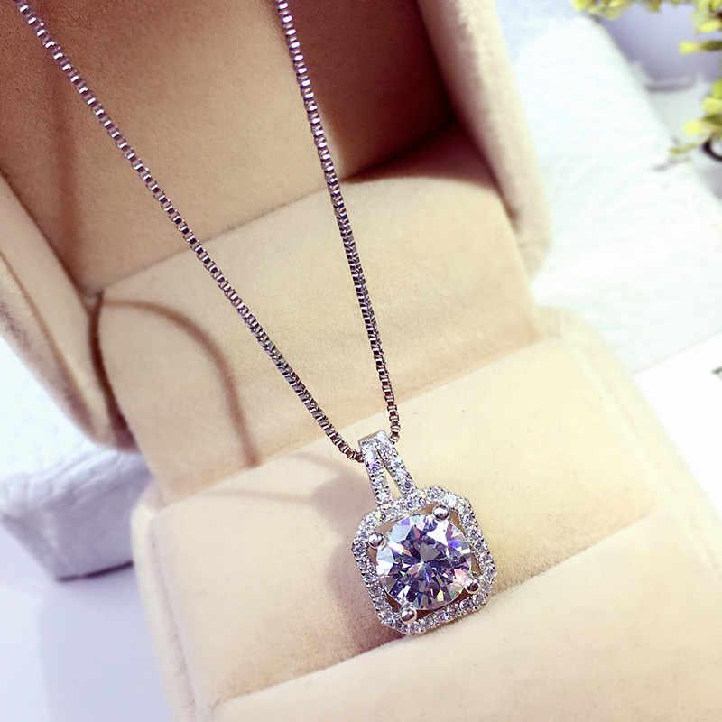 Choucong colgante de declaración de Plata de Ley 925 Bijou AAAAA cz colgante para boda con Collar para mujer regalo de joyería de moda