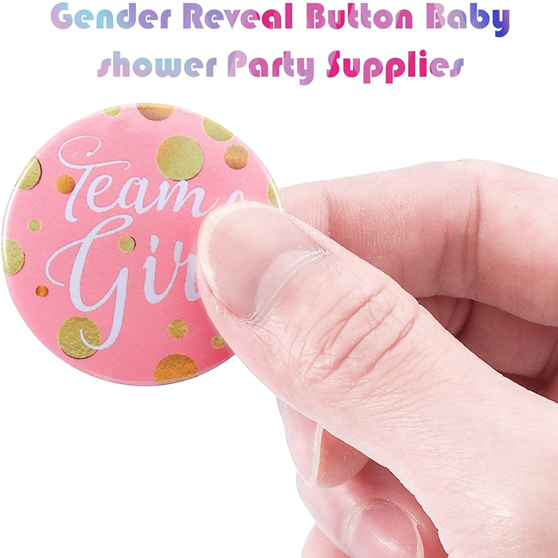 60-Piece Gender Display Pin Boy and Team Girl Button Pin Baby Shower Button Pink Button for Baby Party Party Supplies-3