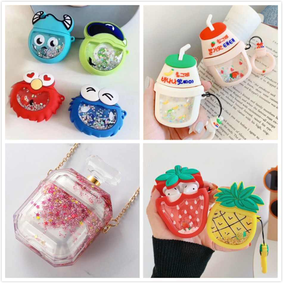 3D Liquid Earphone Case for Apple Airpods Case Glitter Quicksand Cover for Air pods 2 Case Headphone Earpods Cover Bling Strap