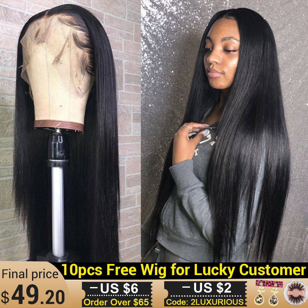 Brazilian 13x6 Lace Front Human Hair Wigs For Women Pre Plucked Natural Wig With Bleached Knots Remy Straight Human Hair Wigs