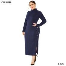 цена Plus Size 5XL Dress Women Winter 2019 Long Sleeve Bandage Bodycon Midi Elegant Black Knitted Maxi Split Sweater Party Dress