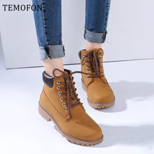 Winter Enkellaars Vrouwen Snowboots Pluche Lace-up Casual Herfst Schoenen Dames Lederen Martin Booties Bottes Femme 35 -41 HVT517(China)