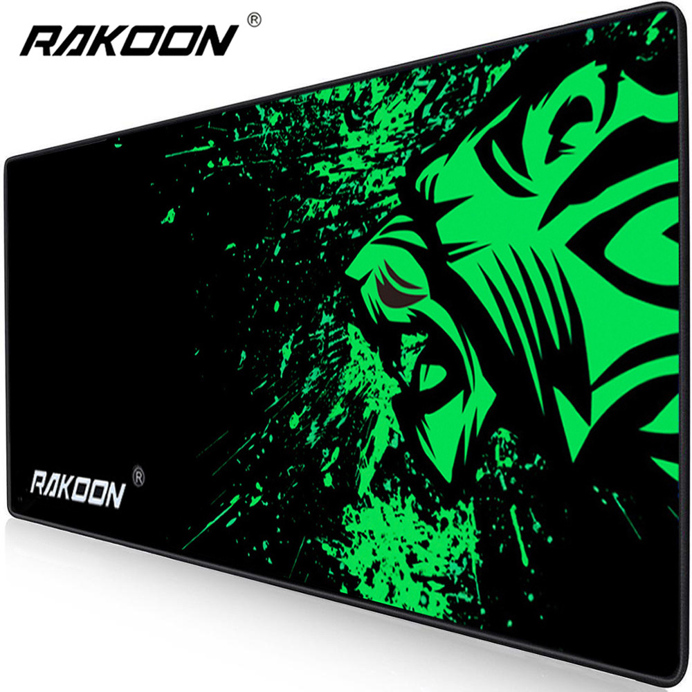 Rakoon extra grande mouse pad grande computador gaming mousepad anti-deslizamento de borracha natural com bloqueio borda gaming mouse esteira