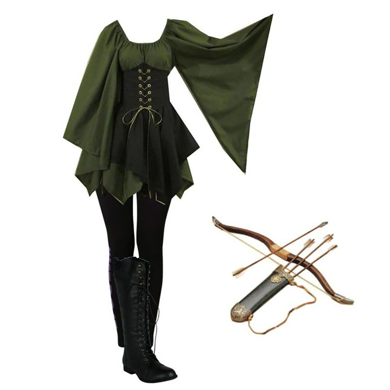 Archer Ranger Elf Fairy Elven Costume Women Gown Tunic Dress Lace Up Cincher Cosplay Woodland Forest Halloween Outfit For Girls